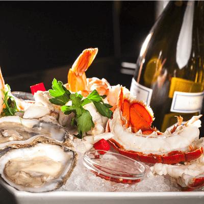 MRKT Land & Sea Osters crab wine